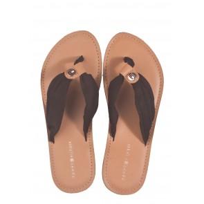 Tommy Hilfiger Leather Footbed Beach Sandal schwarz Pantolette