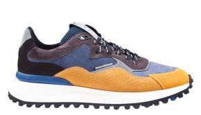 Floris van Bommel 16339/00 G1/2 Yellow print suède combi Sneaker.