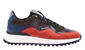 Floris van Bommel 16339/01 G1/2 Orange print suède combi Sneaker