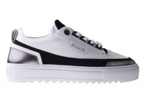 Mason Garments Firenze10A Leather/Glitter/Metallic White/Black/Gunmetal Sneaker