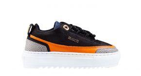 Mason Garments kids Firenze 17A Nubuck/Leather Black/Orange Sneaker