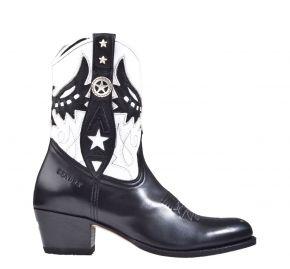 Sendra 14298 schwarz weiß Leder Westernstiefel