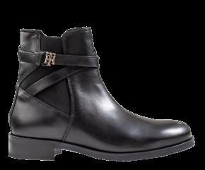 Tommy Hilfiger Hardware Belt Flat Boot schwarz Stiefelette