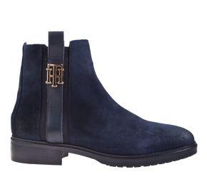 Tommy Hilfiger Interlock suède Flat Boot blau Stiefelette