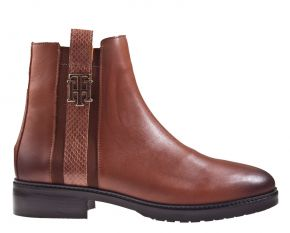 Tommy Hilfiger Interlock leather flat boot cognac Stiefelette