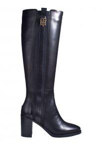 Tommy Hilfiger Interlock High Heel Long Boot schwarz Stiefel