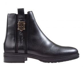 Tommy Hilfiger Interlock leather flat boot schwarz Stiefelette