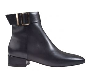 Tommy Hilfiger Leather Square Toe Mid Heel Boot schwarz Stiefelette
