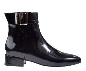 Tommy Hilfiger Patent Square Toe Mid Heel Boot schwarz Lack Stiefelette