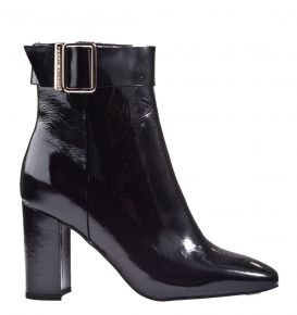 Tommy Hilfiger Patent Square Toe Boot schwarz Lack Stiefelette