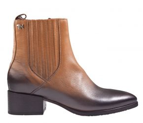 Tommy Hilfiger schaded-leather flat boot cognac Stiefelette