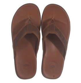 UGG Seaside Flip Leather cognac Pantolette
